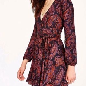 Urban Outfitters Ecote Paisley Floral Wrap Dress L